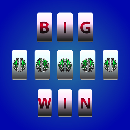 gambling counter: Vector Counter Big Win Slots. Brain symbols winner. Element for casino, game and other projects. Big Win Icon over blue background