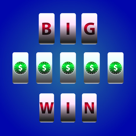 gambling counter: Vector Counter Big Win Slots. Dollar symbols winner. Element for casino, game and other projects. Big Win Icon over blue background Illustration
