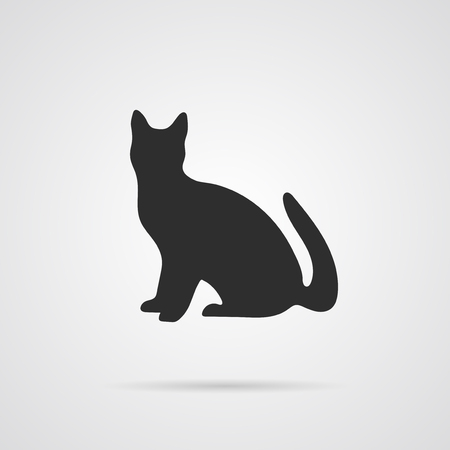 Vector Gray Silhouette of Cat. Element for World Environment Day, and other animal and ecology projects. Cat Icon
