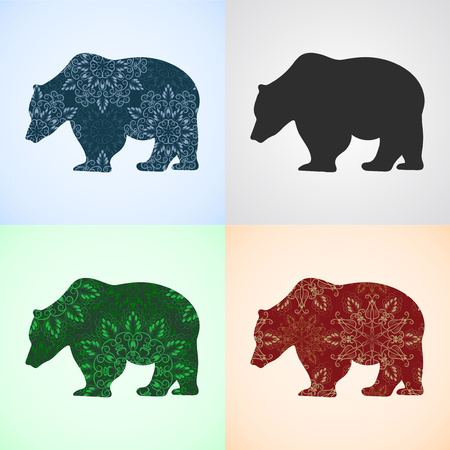 colorific: Vector Set from Bear with Mandala Patterns, Elements for logo, banners, flyers, posters, printing on T-shirts. Three different seamless mandala patterns are in swatches panel.