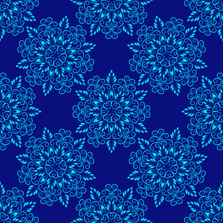 Vector Seamless Floral Mandala Pattern over blue color. Seamless pattern for your designs, invitation card, yoga, meditation, astrology and other wrapped projects. Pattern in swatches panel.