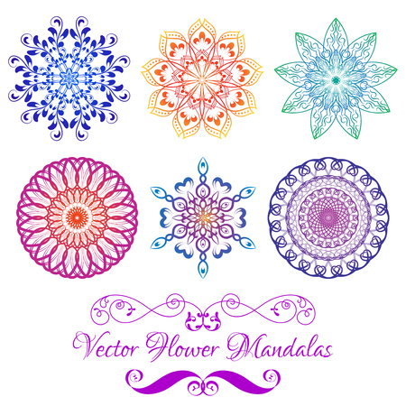 souvenir: Set from Vector Color Floral Mandala isolated on white. Elements for your designs, invitation card, yoga, meditation, astrology and other projects. Gradient Mandala Icons.