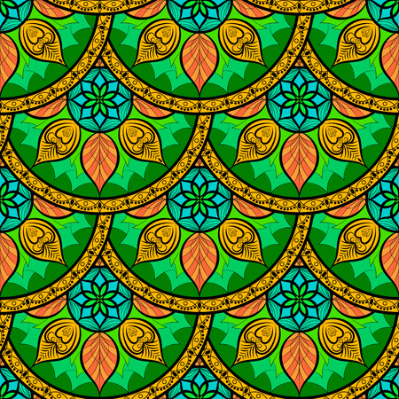 wrapped: Seamless color Floral Mandala Pattern. Seamless pattern for your designs, invitation card, yoga, meditation, astrology and other wrapped projects. Pattern in swatches panel.