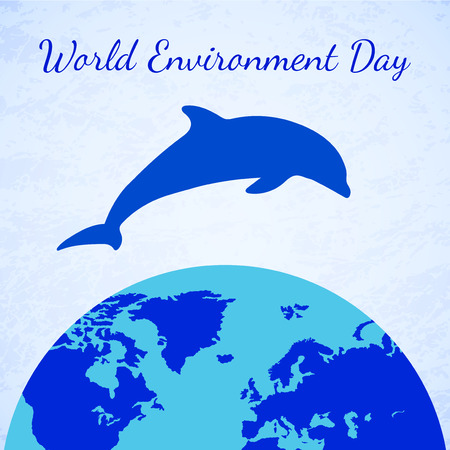 diving save: Dolphin and Earth. Eco Earth, Dolphin Icon. Planet Earth Icon. Element for Earth Day, World Environment Day, and other animal and ecology holidays projects.
