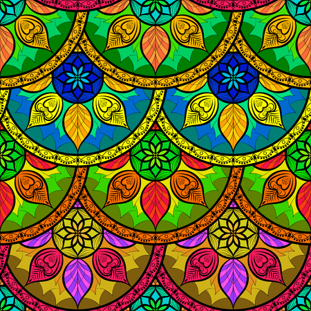 Seamless Colour Floral Mandala Pattern. Seamless pattern for your designs, invitation card, yoga, meditation, astrology and other wrapped projects. Pattern in swatches panel. Illustration