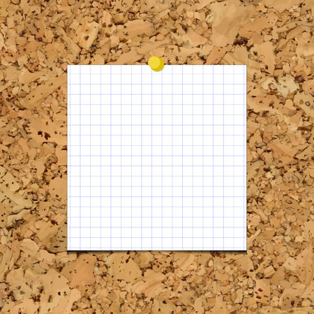 cork sheet: sheet of paper into a cell on a cork board. Blank sheet of paper for your inscription and designs. Illustration