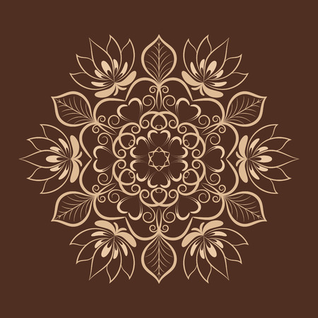 abstract design elements: coffee color flower mandala over dark brown. Invitation element. Tattoo, astrology, alchemy, boho and magic symbol for your projects Illustration