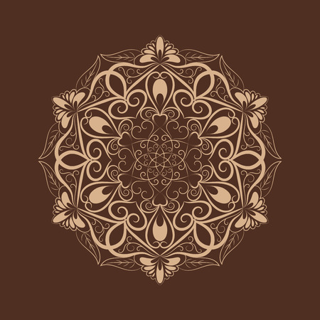 brown pattern: coffee color flower mandala over dark brown. Invitation element. Tattoo, astrology, alchemy, boho and magic symbol for your projects Illustration