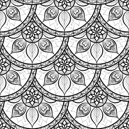 asian adult: Seamless Floral background Pattern. Design indian, arabic, asian, ethnic pattern. Black and white background. Coloring book page for adult. Pattern in swatches panel. Illustration