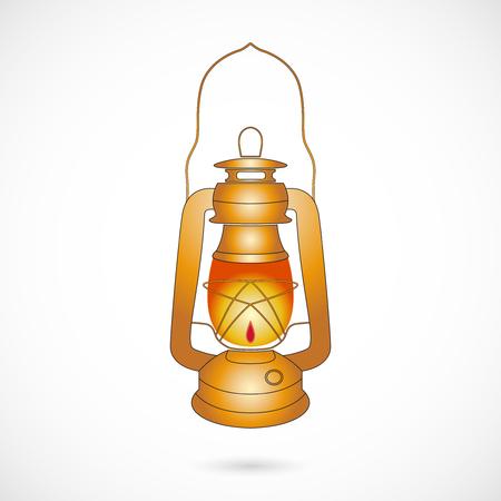 kerosene: Vector Oil Lantern over white. Retro brass kerosene lamp isolated on white background