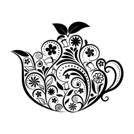 ベクトル花装飾ティーポット白で。禅芸術ティーポットのスタイル。メニューのカフェ、レストラン、バー、ティールームの家デザインの要素です  イラスト・ベクター素材