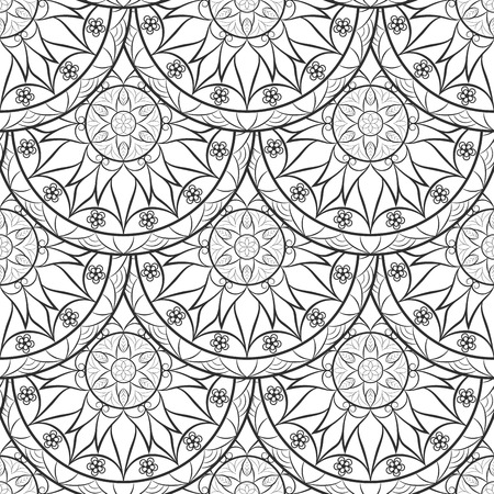 asian adult: Vector Seamless Floral background Pattern. Design indian, arabic, asian, ethnic pattern. Black and white background. Coloring book page for adult. Pattern in swatches panel.