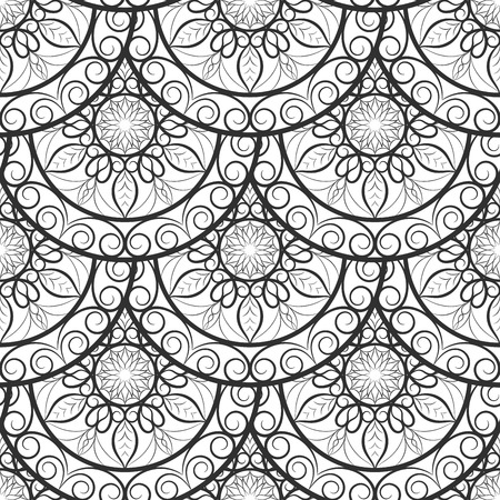 religion  herb: Vector Seamless Floral background Pattern. Design indian, arabic, asian, ethnic pattern. Black and white background. Coloring book page for adult. Pattern in swatches panel.