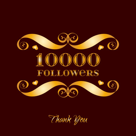 Vector gold 10000 followers badge over brown. Easy use and recolor elements for your design.