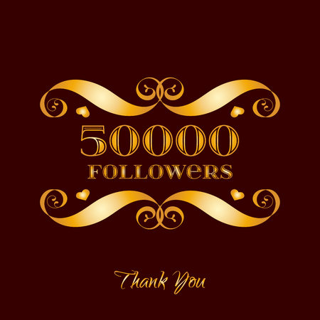 Vector gold 50000 followers badge over brown. Easy use and recolor elements for your design.