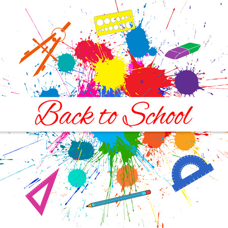 Vector Back to School Banner with school items over Bright Ink Color Blots. Each element separate on sublayers for easy use and recolor.