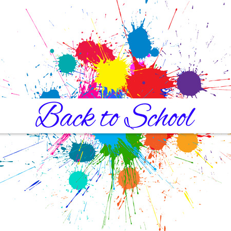 Vector Back to School Banner over Bright Ink Color Blots. Each element separate on layers for easy use and recolor. Background for business, school sale, and other promo designs. Illustration