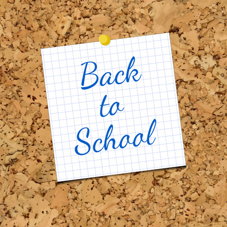 cork sheet: Vector Sheet of Paper and Back To School on a cork board. Inky Inscription on sheet of paper for holiday school projects Illustration