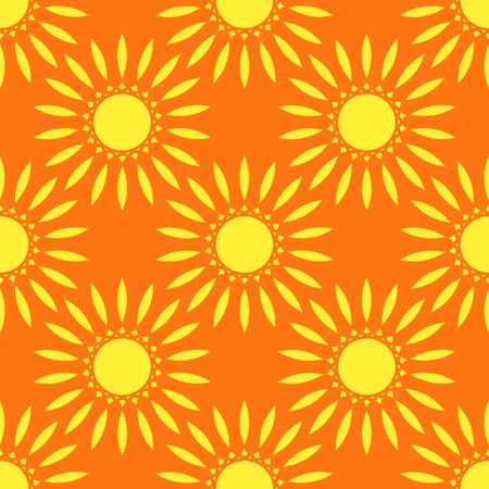 Seamless Yellow Floral Mandala Pattern over orange background.