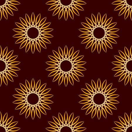 dark brown background: Seamless Gold Floral Mandala Pattern over dark brown background