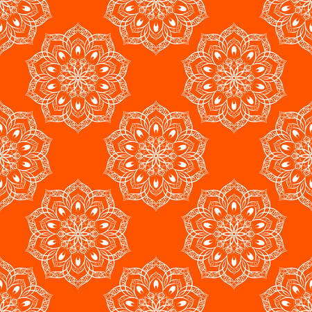 wrapped: Seamless Mandala Pattern over orange background. Seamless pattern for your wrapped projects. Pattern in swatches panel.
