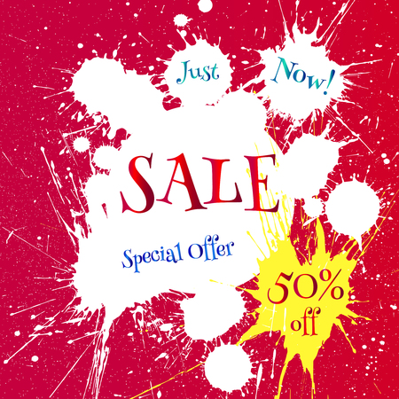 white paint blot with Sale tag over bright red background. Discount label. Business banner for sale message.