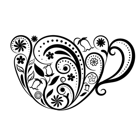Cup of Tea over White. Cup with floral design elements. Zen art cup of tea style. Menu for restaurant, cafe, bar, tea-house.