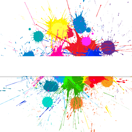 Background With Bright Ink Color Blots. Each element separate on subgroups for easy use and recolor
