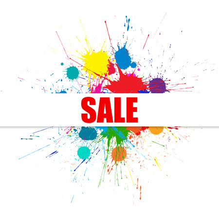 Sale Background With Bright Ink Color Blots. Each element separate on subgroups for easy use and recolor Illustration