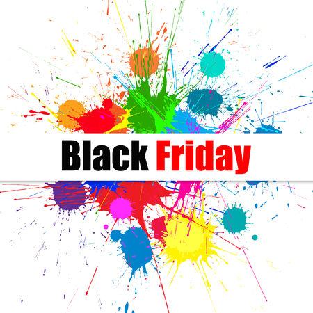 Black Friday Sale Background With Bright Ink Color Blots. Each element separate on subroups for easy use and recolor