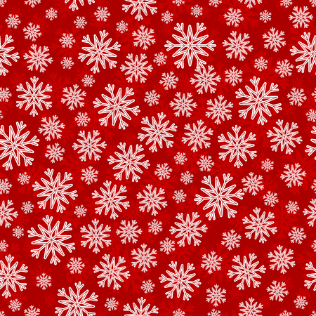 the substrate: Christmas seamless pattern with white red snowflakes and layer substrate over red
