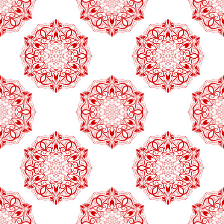 wrapped: Red Seamless Mandala Pattern over white background. Seamless pattern for your wrapped projects. Pattern in swatches panel. Illustration
