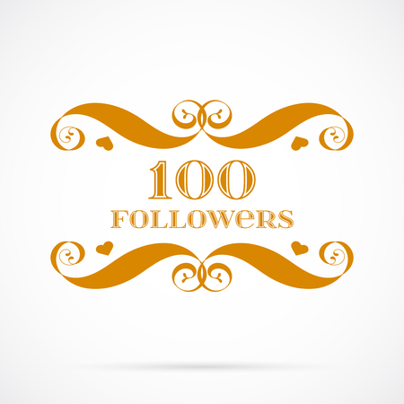 100 followers badge over white. Easy use and recolor elements for your design.