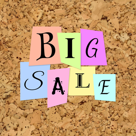 big cork: Big Sale Words from Color Paper over cork texture background. Different words cut out from paper. Background for business, sale, trade and other promo designs.