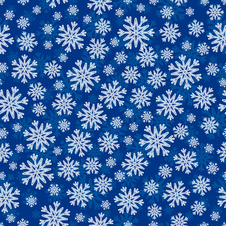 the substrate: Christmas seamless pattern with white blue snowflakes and layer substrate over dark blue