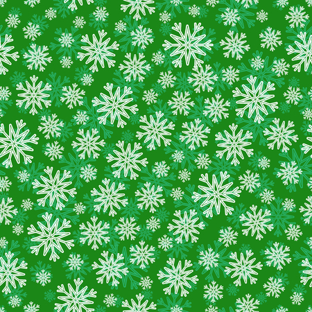 the substrate: Christmas seamless pattern with white green snowflakes and layer substrate over green