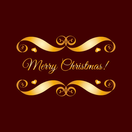 Gold Merry Christmas badge over brown. Easy use and recolor elements for your design. Element for logo, banners, labels, postcards, invitations, prints, posters, web, presentation.