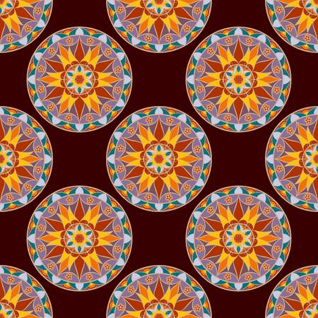 Seamless Floral Mandala Pattern. Stock Photo