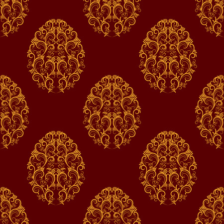 Seamless Pattern From Gold Floral Eggs Over Red