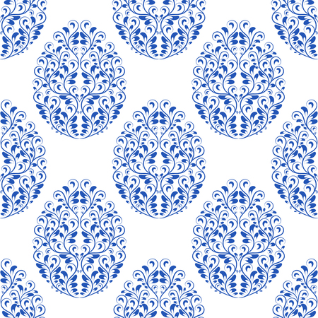 Seamless pattern from eggs with blue floral ornament Illustration