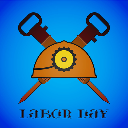 May 1st. Labor Day. Crossed Jackhammers and Helmet Illustration