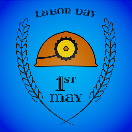 May 1st. Labor Day. Mine helmet and wheat ears.