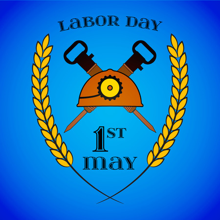 May 1st. Labor Day. Crossed Jackhammers and Helmet.