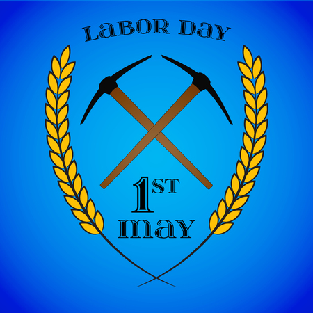 May 1st. Labor Day. Crossed pickaxes and wheat ears.