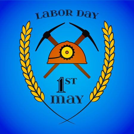 May 1st. Labor Day. Crossed Pickaxes and Helmet