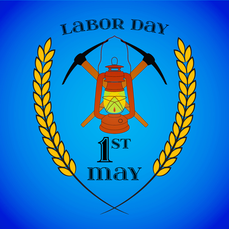 May 1st. Labor Day. Crossed Pickaxes and Lantern Illustration