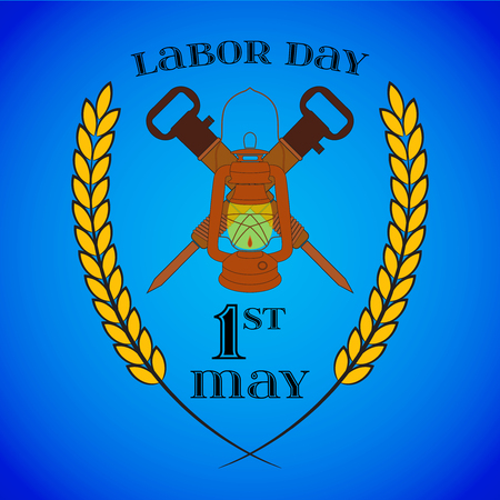 May 1st. Labor Day. Crossed Jackhammers and Lantern