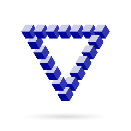 Impossible Triangle Of Blue Cube Blocks Over White. Isometric Mathematical 3d design. Optical illusion for your projects. Illustration