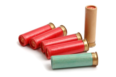 The hunting cartridges on the white