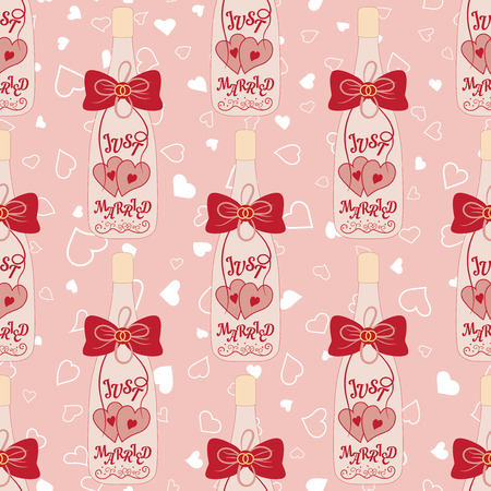 Wedding seamless pattern. Bottle of champagne with hearts and bow
